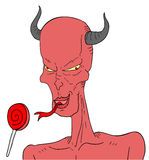 Demon and tasty candy Royalty Free Stock Images