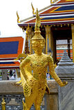 Demon in the temple    bangkok asia   thailand roof Royalty Free Stock Images