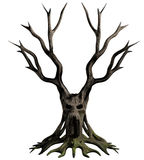 Demon tree. 3D Illustration of a dead, gnarled tree with the face of a screaming demon on the trunk Stock Images