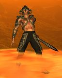 Demon Warrior with fiery background. Digital render of a demon warrior with sword and fiery background Stock Images