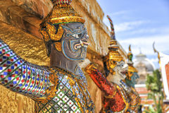 Demon guard of Wat Phra Kaew Grand Palace Bangkok. A demon guard in the temple of the Emerald Buddha Wat Phra Kaew Grand Palace in Bangkok stock image