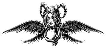 A demon with wings. A demon with long wings Stock Image