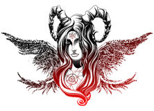 Demon with wings. A demon with long wings Stock Photography