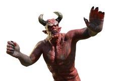 Demone arrabbiato - resti a distanza - su bianco Fotografie Stock Libere da Diritti