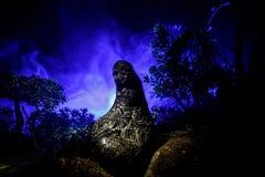 Demone femminile Venuta dei demoni Slhouette del diavolo o il mostro dipende un fondo di fuoco Vista di orrore Fotografia Stock Libera da Diritti