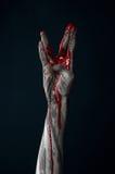 Demone sanguinoso dello zombie della mano Fotografie Stock