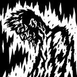 Demonen blöder, när dess huvud är ner också vektor för coreldrawillustration Royaltyfri Bild