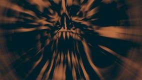Demonhoofd met een gescheurd gezicht Illustratie in genre van verschrikking vector illustratie