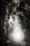 Demonic ghost. Vintage abadoned house  with demonic ghost face Royalty Free Stock Images