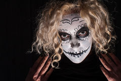 Demonic sugar skull woman Royalty Free Stock Photos
