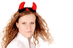 Demonic woman. Close up of a beautiful woman with devil horns isolated on white Stock Images