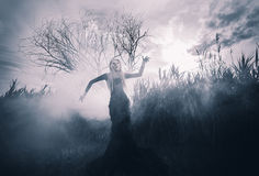 Demonic woman in the fog. Demonic female figure in the fog, monochromatic shot Stock Image