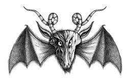 Demonio con las alas del palo Foto de archivo