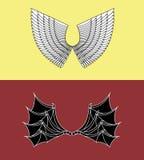 Demonio y Angel Wings Fotografía de archivo