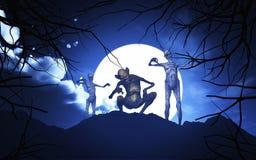demonios de 3D Halloween en un paisaje fantasmagórico Fotografía de archivo libre de regalías