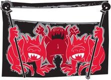 Demonios de Víspera de Todos los Santos con la bandera Imágenes de archivo libres de regalías