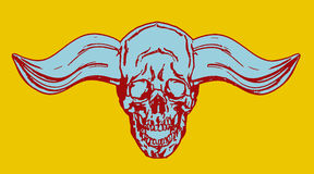 Demonisk skalle för fasa med envisa horn också vektor för coreldrawillustration Arkivfoto