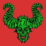 Demonisk skalle för fasa med horn också vektor för coreldrawillustration Royaltyfri Fotografi