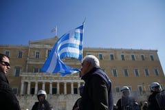 Demonostration greco del settore pubblico e privato fotografia stock