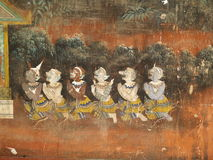 Demons dancing. Demons in a wall painting of the Ramayana in Cambodia's Royal Palace. Phnom Penh Royalty Free Stock Images