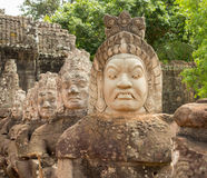 Demons line entrance to south gate angkor thom Royalty Free Stock Images