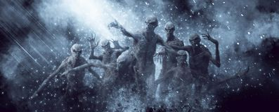 Demons Monsters 3D Illustration. 3D Illustration of a demons monsters in the rays of light stock illustration