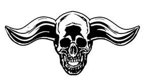 Demonskalle med horn också vektor för coreldrawillustration Arkivbild