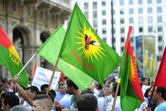 Demonstração contra perseguição e atrocidades em Iraque Imagem de Stock