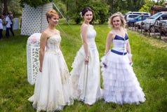 Demonstração da coleção do vestido de casamento Fotos de Stock Royalty Free
