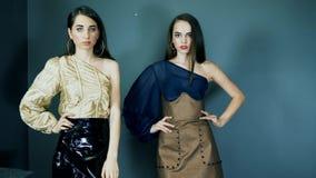 Demonstração da roupa nova, modelos novos glamoroso na roupa chique com a composição brilhante que levanta na câmera no estúdio vídeos de arquivo