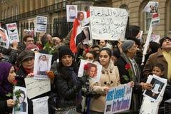 Demonstração de Anti-Mubarak, Londres fotografia de stock royalty free