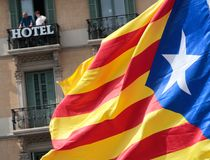 Demonstração de Barcelona para o detalhe da independência imagem de stock