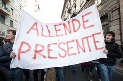 Demonstração de estudante em Milão dezembro 14, 2010 Fotografia de Stock