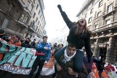 Demonstração de estudante em Milão dezembro 14, 2010 Fotografia de Stock Royalty Free