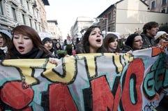 Demonstração de estudante em Milão dezembro 14, 2010 Imagem de Stock