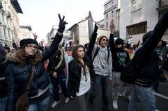 Demonstração de estudante em Milão dezembro 14, 2010 Fotos de Stock