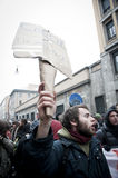 Demonstração de estudante em Milão dezembro 22, 2010 Imagens de Stock Royalty Free