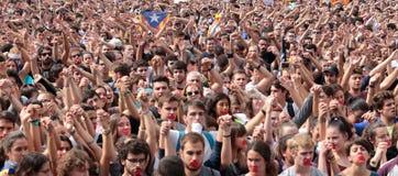 Demonstração de estudantes de Barcelona para a independência fotografia de stock