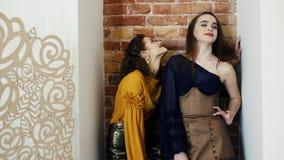 Demonstração de uma coleção nova da roupa, modelos profissionais na roupa luxuoso que levanta no fundo da parede de tijolo filme
