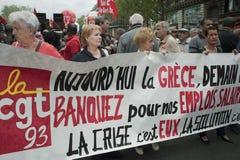 Demonstração do dia de maio, Paris, France foto de stock