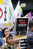 Demonstração do ISIS contra o terrorismo em Iraque Foto de Stock Royalty Free