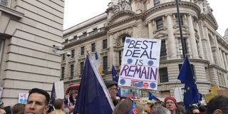 A demonstração do referendo de Londres Brexit marcha fotografia de stock royalty free