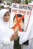 Demonstraci Againts chybienie Światowy wydarzenie w Indonezja obraz stock
