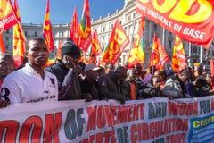 Demonstraci i protestów imigranci Zdjęcie Royalty Free
