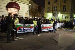 Demonstracja Bułgarscy policjanci żąda 15% wzrost w pensjach projektować nowego prawo dla ministerstwo spraw wewnętrznych i admin Obrazy Stock