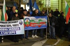 Demonstracja Bułgarscy policjanci żąda 15% wzrost w pensjach projektować nowego prawo dla ministerstwo spraw wewnętrznych i admin Fotografia Stock