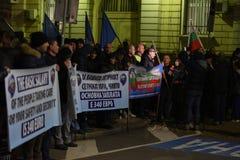 Demonstracja Bułgarscy policjanci żąda 15% wzrost w pensjach projektować nowego prawo dla ministerstwo spraw wewnętrznych i admin Zdjęcie Stock