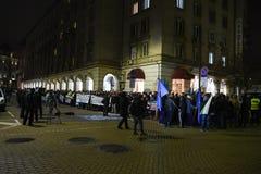 Demonstracja Bułgarscy policjanci żąda 15% wzrost w pensjach projektować nowego prawo dla ministerstwo spraw wewnętrznych i admin Zdjęcia Stock