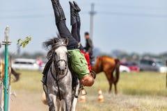 Demonstracja Kozacki equestrian klub sportowy z akrobatycznymi elementami i sztuczkami zdjęcia stock