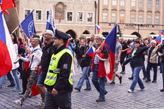 Demonstracja przeciw islamizacja Europa, Praga, czech Repu Zdjęcia Royalty Free